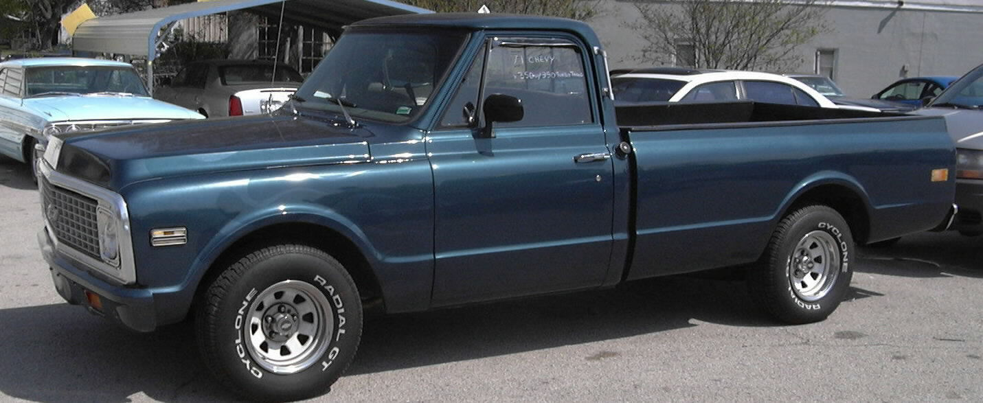 1971 Chevy Pickup Sold Dark Green With Ghost Flames